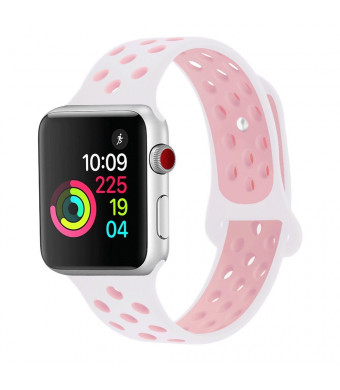 Caleb Peterson For Apple Watch 38MM 42MM, Dual-color Soft Silicone Sport Replacement Band for Apple Watch Series 3, Series 2, Series 1