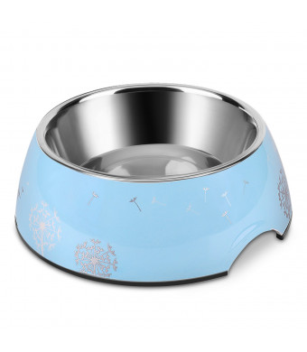 Flexzion Stainless Steel Pet Bowl - Anti-Slip Rubber Base Dog Cat Feeder, Dishwasher Safe and Rust Resistant with Removable Food Water Holder up to 24 Ounce