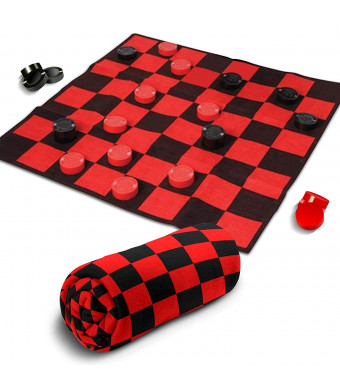 Giant Checkers Rug Set by Gamie | 34.5 x 34.5 Jumbo Checker Board Floor Mat Game with Huge Pieces | Great Gift Idea for Boys and Girls/ Fun Birthday Party Activity | Play Room Rug (Red and Black)