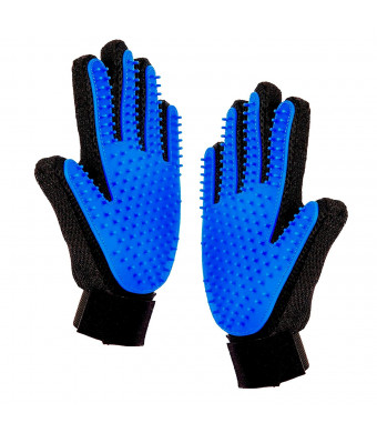 INTIEZA (1 Pair Pet Grooming Glove - Enhanced Five Finger Design for Dogs, Cats and Horses - Long and Short Fur - Gentle De-Shedding Brush -your Pet's Will Love It.