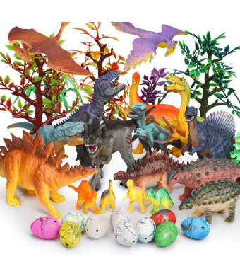 JamBer Dinosaur Toys 34 Pack Realistic Dinosaur Action Figures Jungle Animal Figures Toys for Kids Dino Toys for Toddlers Boys as Party Favors Including 10pcs Dinosaur Eggs 7pcs Artificial Trees