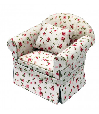 Inusitus Miniature Dollhouse Sofa Arm Chair - Dolls House Furniture Couch - White with Red Pattern - 1/12 Scale (White with Flowers)