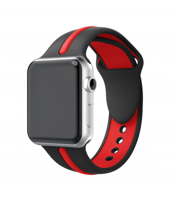 Yayuu Compatible Apple Watch Bands 38mm/40mm 42/44mm, Soft Silicone Sport Replacement Wrist Strap Stripe Color Splicing Bands for Apple Watch Sport, Series 4/3/2/1 Smart Iwatch