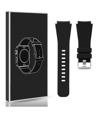 Diruite for Michael Kors Access Bradshaw Smart Watch 22mm Classic Silicone Band Strap for MKT5001/5004/5013 - Black (Permanent Warranty Replacement)