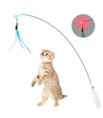 PAWABOO Feather Teaser Cat Toy, Interactive Feather Wand Cat Toy Flying Feather Cat Catcher with Extra Long Wand and Small Bell, Fun Exerciser Playing Toy for Kitten or cat.