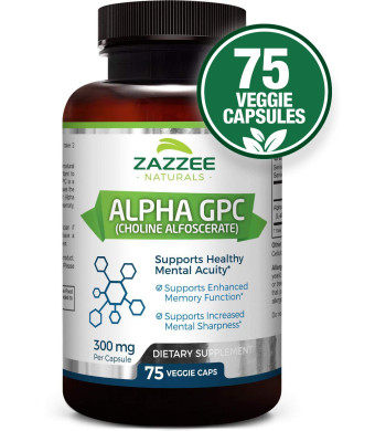 Alpha GPC Choline | 75 Veggie Capsules | 600 mg per Serving | Pharmaceutical Grade  | Vegetarian/Vegan | Non-GMO, Soy-Free, Gluten-Free | Supports Healthy Brain Function | Made in USA