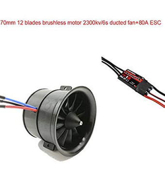 Powerfun EDF Ducted Fan 70mm 12 Blades with Brushless Motor 2300KV/6S for RC Airplane Balance Tested+ESC80A