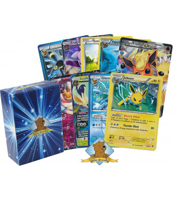 Pokemon Eeveelution Card Lot Collection - Featuring Eevee Plus Jolteon - Flareon - Vaporeon - Espeon - Umbreon - Glaceon - Leafeon - Sylveon! Mixed Rarities GX - EX - Holo - Foils! Comes in GG Box!