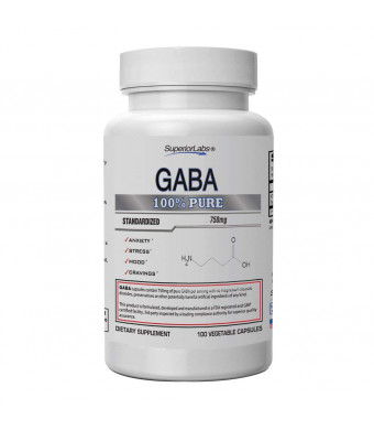 Superior Labs | GABA Supplement 750mg | Maximum Strength Mood Enhancement | Natural Relief of Stress and Simple Nervous Tension, Promotes Mood Balance, Sleep Quality, and Natural Brain Function.