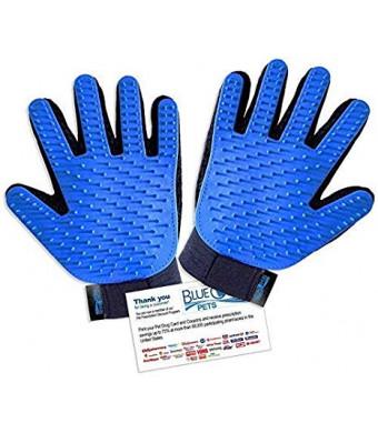 Efficient Hair Remover Gloves-Pet Grooming Gloves- Gentle Deshedding Massage Mitts - Enhaced 5 Finger Densign - Perfect for Short and Long Fur - Your Pets Will Love The Glove!
