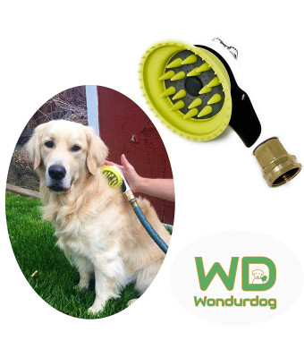 Quality Outdoor Dog Shower   All Metal Adapter   Attaches to Standard Garden Hose   Nozzle Brush Attachment with Rubber Shield   Outdoor Dog Wash   Outdoor Dog Bath