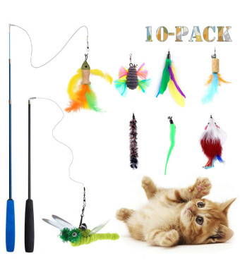 Teeyee [10 in 1 Cat Feather Toys, Cat Retractable Teaser Wand Toy Set, Interactive Cat Chaser Toy Exercising Kitten Cat, Included 2 Wands and 8 Refills Feathers