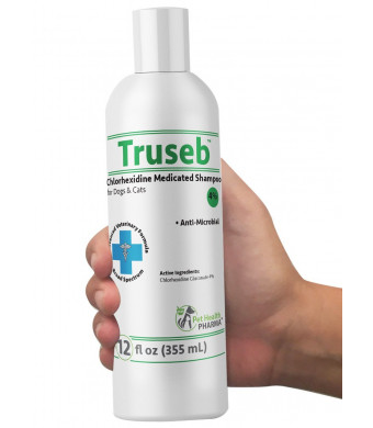 Truseb | #1 Chlorhexidine 4% Medicated Shampoo for Dogs and Cats- Anti Microbial CleansingandDeodorizing-Effective Against Bacterial Skin ConditionsAdvanced Veterinary Formula-100% Satisfaction
