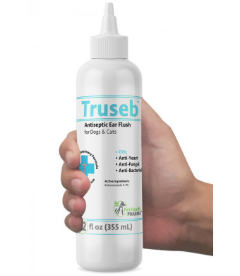 Truseb | #1 Dog and Cat Ear Infection Treatment  Ear Cleaner Flush Solves Itching, Head Shaking, Discharge and Smelly Ears Due to Mites, Yeast and Bacteria- KETOCONAZOL 0.1% - Antibacterial, Antiseptic,