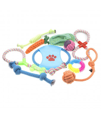 GNB Pet Chew Toys 10 Pieces Combinations The Great Toys for Your Dog Puppy Chew Rope Squeaky Teething Toys For Small to Medium Dogs
