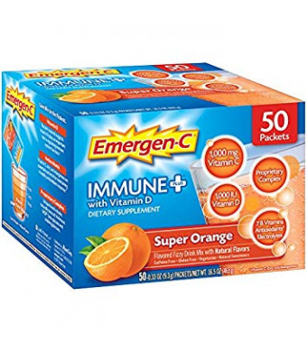 Emergen-C Immune+ (50 Count, Super Orange Flavor) System Support Dietary Supplement Fizzy Drink Mix with Vitamin D, 1000mg Vitamin C Plus Antioxidants and Electrolytes, 0.33 Ounce Packets