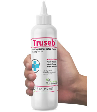 Truseb | #1 Antibacterial, Antiseptic, Antimicrobial and Antifungal Medicated FLUSH for Dogs, Cats and Horses with Chlorhexidine0.2%, Ketoconazole 0.2%. Otic Advanced Veterinary Formula- 100% Satisfy