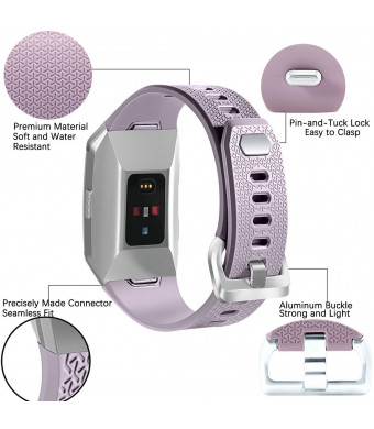 Josi Minea [Fitbit Ionic] Rugged Silicone Bracelet Adjustable Clasp - Hard Shell Strap Band Snap-On Watchband Fitbit Ionic Smart Fitness Watch [ Light Purple ]