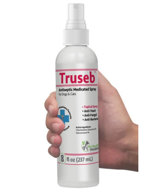 Pet Health Pharma Truseb   #1 Antiseptic and Antifungal Medicated Spray with Chlorhexidine and Ketoconazole Spray for Dogs, Cats and Horses,Hot Spots, Ringworm, Yeast, Fungal Infections, Acne Pyode