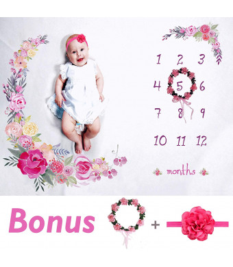 """Baby Monthly Milestone Blanket Large 60""""x40"""" 