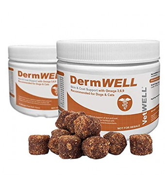 VetWELL Omega 3 Supplement for Dogs with Antarctic Krill Oil, Astaxanthin, Omega 3 6 9, EPA, DHA for Amazing Skin and Coat - Relieves Itching and Allergies