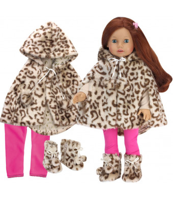Sophia's Doll Clothes 3 Pc.Set Includes Doll Coat Animal Print Fur Cape, Matching Doll Boots and Hot Pink Leggings for Dolls in The Winter and 18 Inch Girl Dolls Such as American Dolls and More!