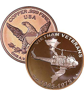 1 oz .999 Pure Copper Round/Challenge Coin (Vietnam Veterans)