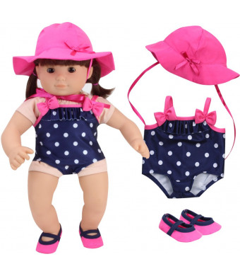 Sophia's 15 Inch Baby Doll Bathing Suit Navy Polka Dot Baby Doll Bathing Suit, Hot Pink Hat and Matching Water Shoes | Perfect for Bitty Baby Dolls and More!