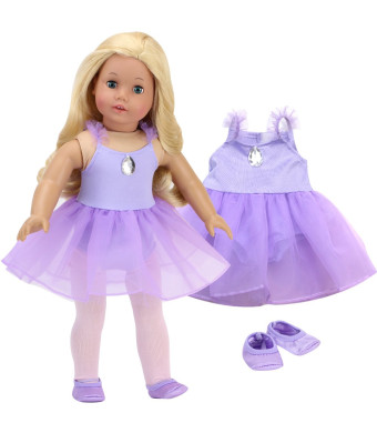 Sophia's 18 Inch Doll Ballet Outfit Lavender Ballet Leotard with Attached Skirt and Satin Ballet Slippers