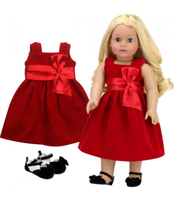 Sophia's 18 Inch Doll Clothes Special Occassion Doll Dress | Red Velvet Holiday Girl Doll Dress and Black Velvet Shoes Perfect for American Dolls and More!