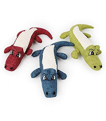 Stock Show 1Pc Pet Squeak Toy Linen Plush Crocodile Shape Teeth Cleaning Massager Playtoy for Small Dog Cat, Random Color