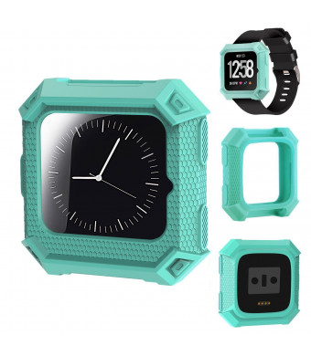 X4-Tech Compatible with Fitbit Versa Fitness Rugged Shock Proof Case Frame, Soft Protective Silicone Bumper Compatible with Fitbit Versa Smart Watch