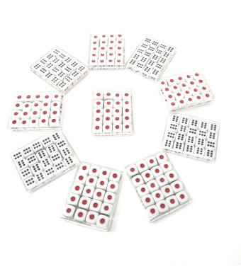 THY COLLECTIBLES 12mm White Dice with Black and Red Pips Dots for Board Games, Poker Card Games, Activity, Casino Theme, Party Favors (200 Pcs Pack)