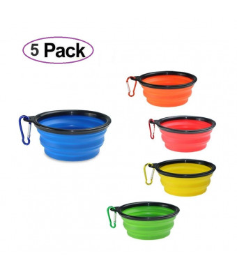 Collapsible Dog Bowls 5-Pack for Pet Dog/Cat Food Grade  Silicone BPA Free Food Water Feeder for Travel Camping or Out Door Portable Cup Dish