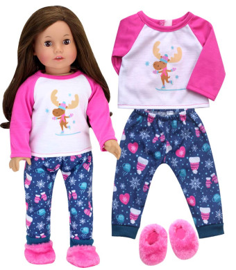 Sophia's Doll Clothes Winter PJs or Doll Pajamas for 18 inch Dolls | Teal/Pink Print Winter Doll Sleepwear Pants with Moose Print Silkscreen Tee and Slippers, Perfect for American Girl Dolls and More!