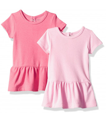 Hanes Ultimate Baby Girls Flexy 2 Pack Short Sleeve Knit Dresses