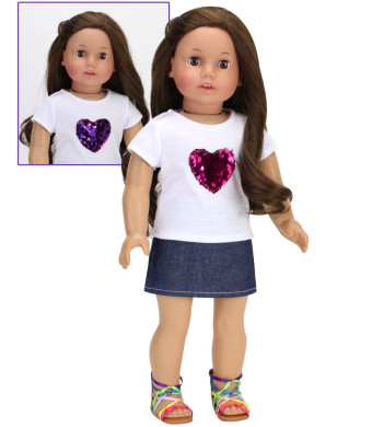 Sophia's Hot Pink Reversible Sequin Heart T and Denim Skirt | 2 Piece Casual and Fun Outfit for 18 Inch Dolls