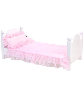Pink Bedding Set with Doll Pillow, Comforter and Mattress Pad | Light Pink Eyelet Bedding Set for 18 in Doll Beds