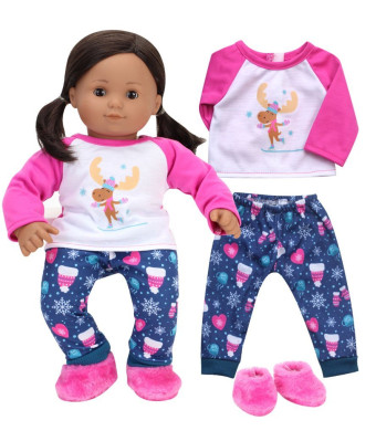 "Sophia's 15 Inch Bitty Baby Doll Clothes | Pajamas of Moose Print Winter PJ's and Slippers 15"" Doll Sleepwear"