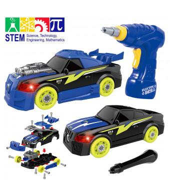 Maxxrace Take Apart Racing Car, STEM Toys 26 Pieces Assembly Car Toys with Drill Tool, Lights and Sounds, Christmas Gifts for Kids