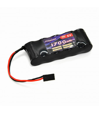 Fconegy NiMH Battery Receiver Pack 6V 1700mAh 5-Cell Flat Pack with BBL2 Plug