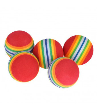 Yeefant Rainbow Stripe Foam Sponge Practice Golf Balls Swing Training Perforated Pets Toy,10Pcs/Pack