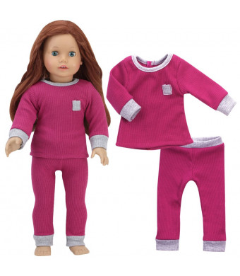 Sophia's Doll Clothes Raspberry and Gray Ribbed Girl Doll Pajama Set | 2 Piece PJ Set for 18 Inch Dolls, Perfect for American Dolls and More!