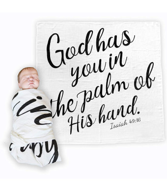 Bless Our Littles Baby Swaddle Scripture Blanket with Bible Verse Quote - Baby Shower Christening/Baptism or Dedication Gift - 100% GOTS Muslin Cotton Receiving Blanket (Isaiah 49:16)