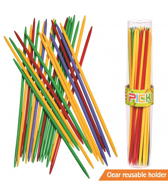 "Giant Pick Up Sticks Game in Lucite Storage Can, 9 3/4"" Long, Great Fun Game for all Ages."