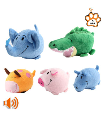 PetBemo Squeaky Dog Toys Puppy Toy Funny Animal Sets Pet Chew Toys Interactive Play for for Puppies and Medium to Large PetsPack of 5