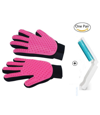 Pet Grooming Glove - Gentle Deshedding Brush Glove - Efficient Pet Hair Pet Deshedding Tool Cat Brushing Glove Hair Removal Pet Grooming Gloves Mitts. Come with Free Lint Roller (One Pair)