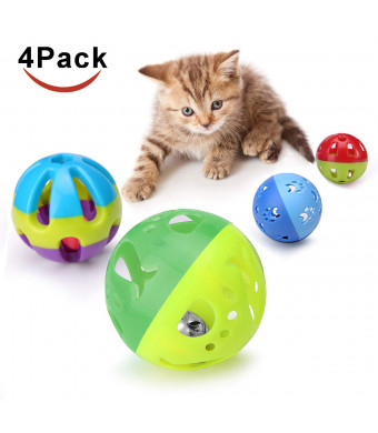 Cat Plastic Ball Toys 4PCS Sizes Pack Bin Kitten Pet Playing Sets with Jingle Bell 3.8 in, 2.8 in, 1.8 in,1.5 in