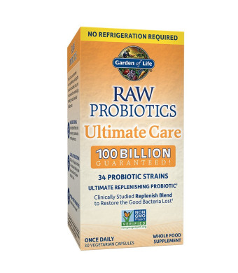 Garden of Life RAW Probiotics Ultimate Care Shelf Stable - 100 Billion CFU Guaranteed through Expiration, Once Daily - Certified Non-GMO and Gluten Free - No Refrigeration - 30 Vegetarian Capsules