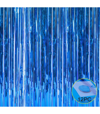 Foil Fringe Metallic Curtain Backdrops - with Balloon Sticks 3.3FTX6.6FT Tinsel Shiny Curtains Perfect for Photo Booth Party/Window/Door Decorative Fringe Curtains,1 Pair Blue